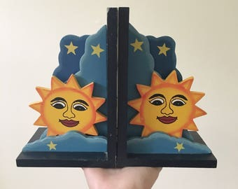 Vintage Sun and Stars Bookends -- Celestial Home Decor -- Kitschy Kitsch Home Decor