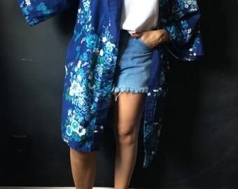 Vintage Blue Floral Cotton Kimono Robe