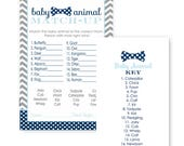 Bow Tie Baby Shower Animal Match Game Card - Mix Up - Guest Activity - Fill In - Guessing Trivia - Set of 25 - Stylish Party Ideas