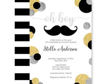Mustache Baby Shower Invitation Boy - Gold and Black Stripe - Little Man Party - Dapper Sprinkle - Customized -- Printable Invite Printing