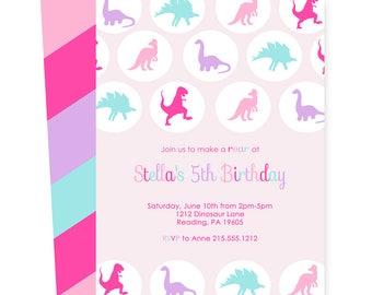 Pink Dinosaur Birthday Invitations for Girls - Prehistoric Invites - Mod Purple and Aqua - T-Rex Party - Polka Dots - Stripes Printing Set