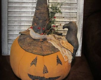 Primitive Halloween Jack~O~Lantern Table Center Piece~Folk Art Pumpkin