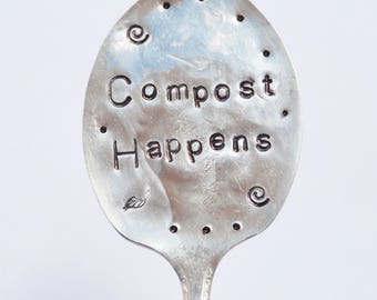 Garden Marker Sign // COMPOST HAPPENS // hand stamped Spoon for flower pots or Herbs and Plants