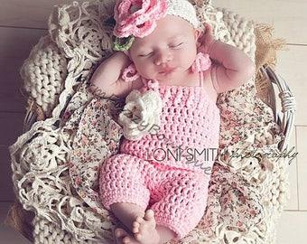 SUMMER SALE Baby Spring Flower Romper & Headband Set - Crochet Beanie Girl Halloween Photo Prop Costume Christmas Spring Summer Winter