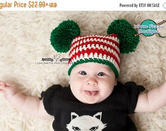 SUMMER SALE Baby Xmas Double Pompom Sack Hat - Winter Newborn Beanie Boy Girl Knit Preemie Christmas  Photo Prop Outfit
