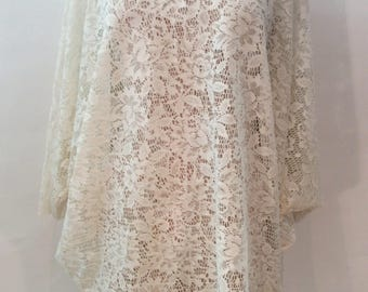 Vintage 1980s 1990s cream off white lace oversized sheer womens bat wing poncho tunic cover up off the shoulder top