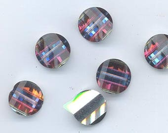 Six rarest-of-the-rare vintage Swarovski crystal pagoda beads: Art. 5107L - 12 mm - volcano