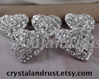 5pc. Beautiful Heart Small Brooches --- Silver Tone --- BR011-5