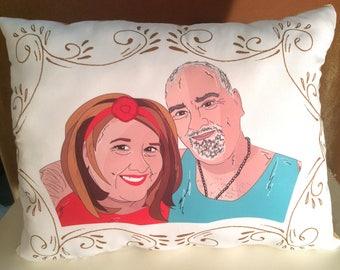 Designer Custom Wedding/Birthday/Anniversary/Random Portrait Pillow with or without Pet(s)