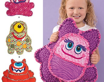 Simplicity Sewing Pattern 1237 Rag Quilted Monster Pillows