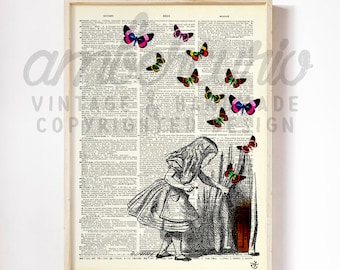 Through the Door and Behind the Curtain Vintage Alice in Wonderland Print on a Unique Unframed Upcycled Bookpage