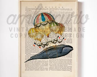 Let's Get Carried Away Sea Life Original Victorian Collage Print on an Unframed Upcycled Bookpage