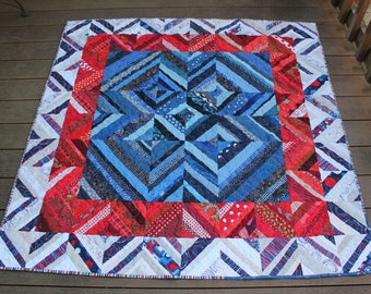 Red White Blue Scrappy String Quilt