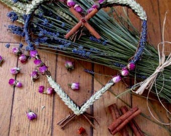Handmade  Handfasting / Home Blessing Five Blessings Rustic Twig Love Heart Wreath.