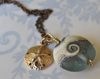 ocean wave with sand dollar necklace, lampwork bead bronze sand dollar necklace, seafoam wave necklace, beachcomber necklace, beach gift