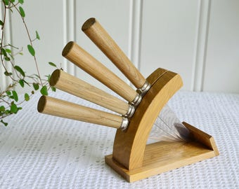 Fruit knife stand, vintage Swedish wooden flatware holder, cheese and dessert kit