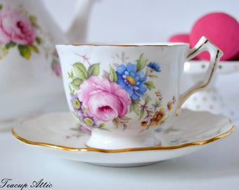 Aynsley Embossed Teacup And Saucer With Flowers, English Bone China Tea Cup Set, Tea Party,  ca. 1950