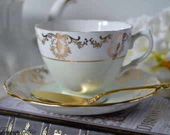 Royal Vale Pale Green And White Teacup and Saucer, Vintage English Bone China Tea Cup, Garden Tea Party,  ca. 1962-1964
