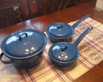 Blue spatter/enamel ware Pots with Lids, Set of 3 (6) Pieces, 1980's