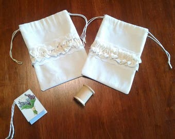 French Ruffles and Lace Drawstring Bags