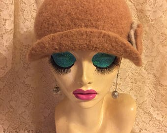 Sesame Vintage Inspired Crocheted Felted Cloche Flapper Hat 'Carrie Bell'