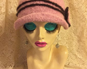 Petal Pink Vintage Inspired Crocheted Felted Cloche Flapper Hat 'Carrie Bell'