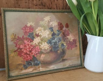 Vintage Floral Print - French Faded Florals - Framed Vintage Print - Still Life - Vintage Florals - French Flower Print