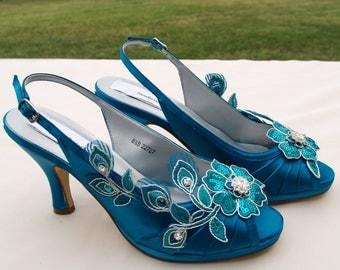 Teal Wedding Shoes PEACOCK Satin Heels - hand embellished  organza flowers & beads, Slingback, Open Peep Toe, Accessory