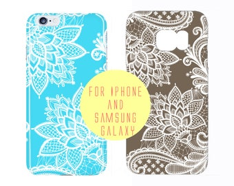 White Lace Samsung Galaxy s7 Edge Case Henna Samsung Galaxy S7 Flower iPhone 7 Plus Case Color Options iPhone 7 Case Vintage Lace Print Case