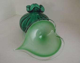 Murano Art Glass, Sommerso Style Green & White, Heart Shape, Candy Dish, Catch All, Unmarked Circa 1960's