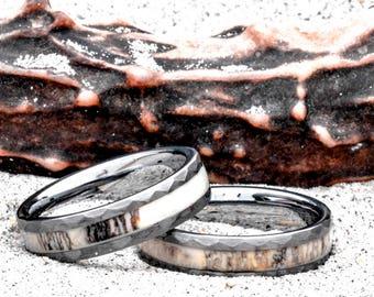 Deer Antler Ring in Tungsten Hammered Finish for Men or Women 6mm Wedding Band Comfort Fit