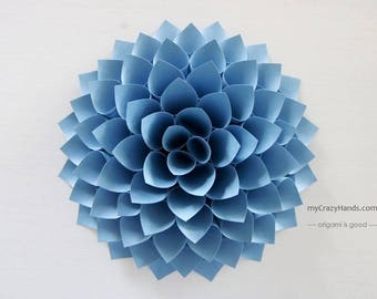 texture paper dahlia | 10'' dahlia wall decor | wedding flower || origami gifts | nursery wall decor | bridal shower backdrop -dusty blue