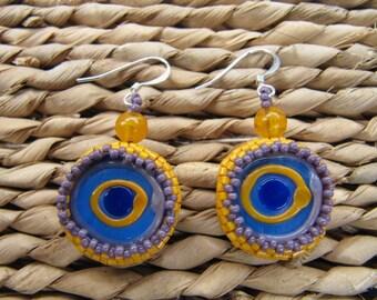 Encased lampwork earrings