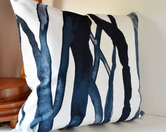 Pillow Case, Decorative Throw Pillows, Navy Blue, Watercolor Art, Watercolor Pillow Art,  Abstract Pattern Pillow Blue Black  White Pillow