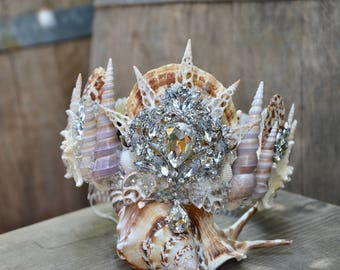 Shell Crown - Festival Crown - Mermaid Crown - Bridal Headpiece - Mermaid Costume.