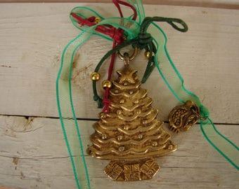 vintage Christmas tree & pomegranate charm, brass finish.