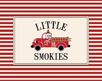 Vintage Fire Truck Birthday Food Tents