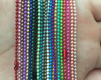 100pcs  1.5mm  Mixed color ball necklace chain with connector 27inch