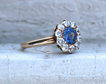 Lovely Vintage 14K Yellow Gold Diamond and Sapphire Halo Ring - 1.70ct.