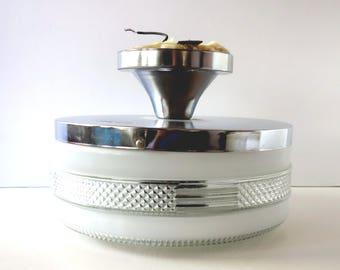 Retro Ceiling Light Fixture, Vintage White Clear Textured Glass Shade, Chrome Semi Flush Mount, Bathroom Kitchen Hall