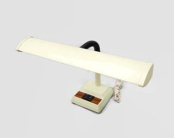 Mid Century Industrial Metal Desk Lamp, Retro Gooseneck Task Light, Vintage Adjustable Work Light, White Woodgrain