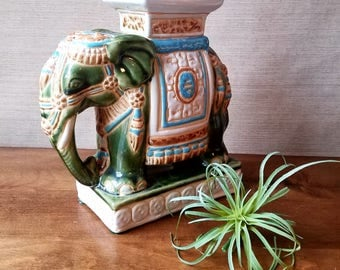 Small Elephant Garden Stool, Vintage Ceramic Elephant, Chinoiserie Decor, Green White, Bookend Plant Stand