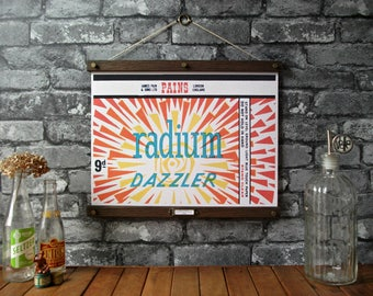 Vintage Fireworks - Radium Dazzler / Vintage Pull Down Reproduction / Canvas Fabric or Paper Print / Oak Wood Hanger and Brass Hardware
