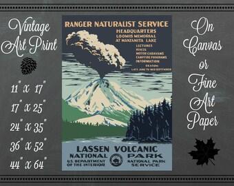 WPA Lassen Volcanic National Park Print / Canvas Fabric or Fine Art Paper / Vintage Art