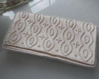 Pearl Beaded Evening Bag - Pearl Beaded Clutch - Vintage Evening Bag - Vintage Clutch - White Satin & Pearl Clutch