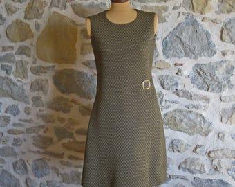 1960s mod dress, sleeveless green and gold retro dress