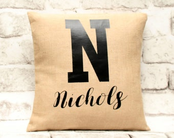 Personalized Burlap Pillow Cover, 18x18