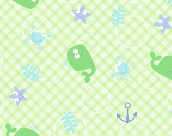 Snuggle Flannel Fabric - Whale and Hook - 1/2 Yard