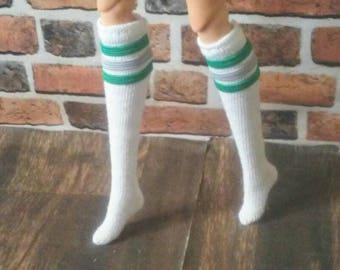 Green and Grey Retro Tube Socks for Barbie or similar fashion doll