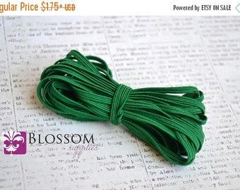 ON SALE 5 and 10 Yards GREEN 1/8 Inch Skinny Flat Elastic - Baby Headband Elastic - Wholesale Supplies - Diy Headbands - Thin foe - Crafts